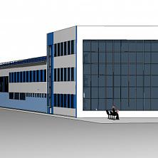 Предварительный эскиз проекта промышленного здания производственно-административного комплекса индустриального парка.