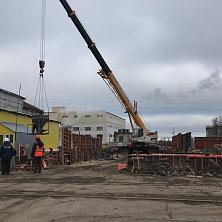 Начало строительства склада - устройство фундамента. Работает техника компании СК ТАВ