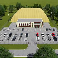 """Проект футбольного стадиона планируемого к постройке в г. Чебоксары. Вид сверху с установленным """"дутиком"""""""