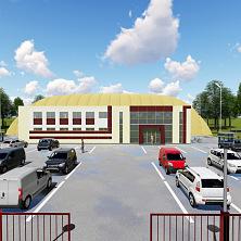 Проект футбольного стадиона. Вид спереди, со стороны автостоянки и входа
