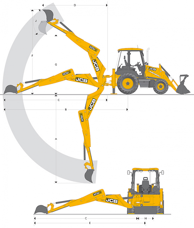 Диаграмма рабочих зон копания экскаватором JCB 3CX (в метрах)