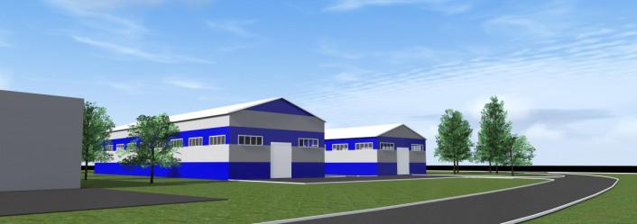 Согласно проекту фасады производстенных зданий решены в фирменных цветах заказчика. Проект для ООО Тимук (г. Чебоксары) выполнен в 2016 году