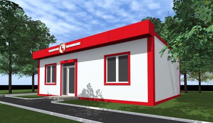 Цветовое решение фасада здания выполнено в фирменных цветах заказчика. Проект торгового павильона завершен в 2016 году