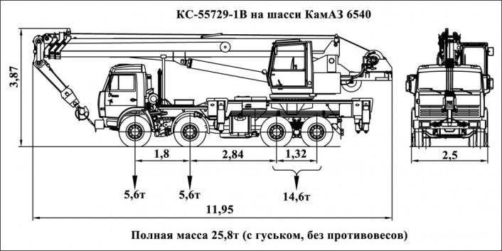 Габаритные размеры автокрана 32 тонны на шасси Камаз. СК ТАВ предоставляет услуги спецтехники.