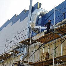 Отделка стен здания профнастилом с утеплителем