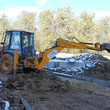 """JCB 4CX работает на строительстве физкультурно-оздоровительного комплекса в г. Чебоксары. Арендован фирмой """"Старатель"""""""