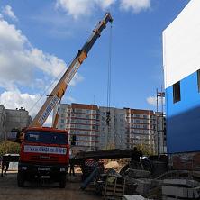 Автокран КС-45717К-1Р арендован фирмой ООО «СК Старатель». Ведет строительство производственно-коммунального комплекса.