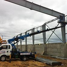 Автовышка Dasan DS-180S на базе KIA Bongo III задействована на строительстве картофелехранилища