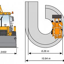 Минимальный диаметр разворота экскаватора-погрузчика со стандартным навесным оборудованием в транспортном состоянии
