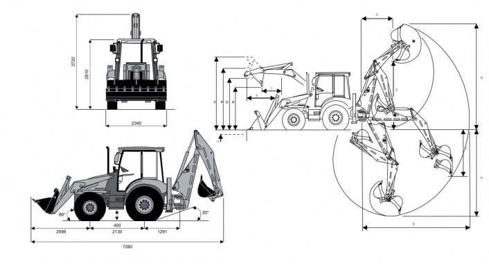 Габаритные размеры Terex TLB, диаграмма рабочих зон экскаваторного и погрузочного оборудования. Сдается в аренду