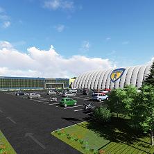 Проект стадионного комплекса в Санкт-Петербурге. Вид на спортивные сооружения и стоянку со стороны въезда на комплекс