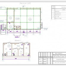 Проект надстройки второго этажа промышленного здания: план на отметке 0,000