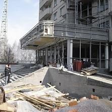 Укладка облицовочной  фасадной плитки при реконструкции гостиницы